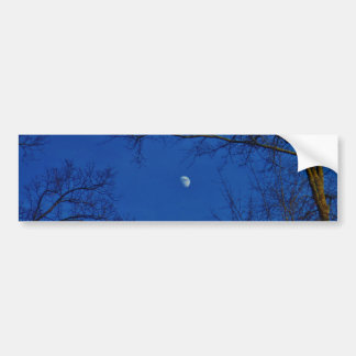 Blue Full Moon With Trees Car Bumper Sticker