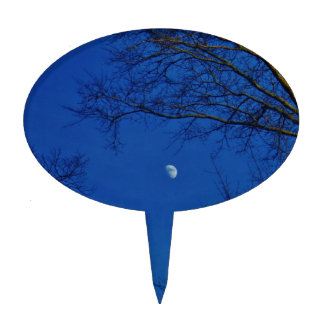 Blue Full Moon With Trees Cake Picks