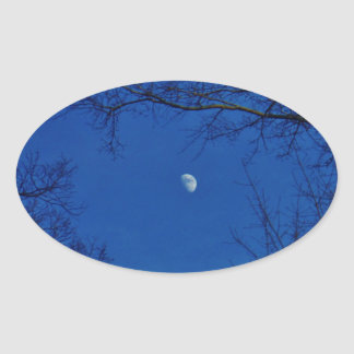 Blue Full Moon With Trees Oval Sticker