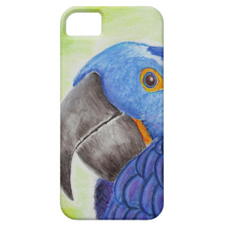 Blue Fun Loving Parrot on Green Background iPhone 5 Cover