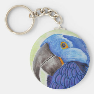 Blue Fun Loving Parrot on Green Background Keychain