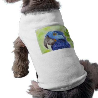 Blue Fun Loving Parrot on Green Background Shirt