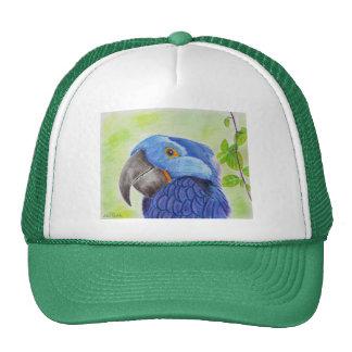 Blue Fun Loving Parrot on Green Background Trucker Hat