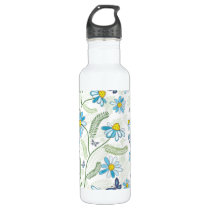 Blue Funky Daisy and Ferns Pattern Stainless Steel Water Bottle