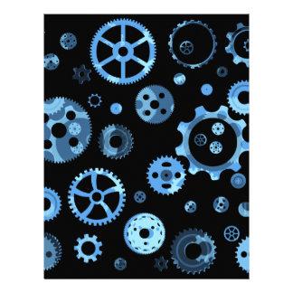 Blue funky gears fun scrapbooking paper letterhead