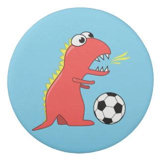 Blue Funny Cartoon Dinosaur Soccer Eraser