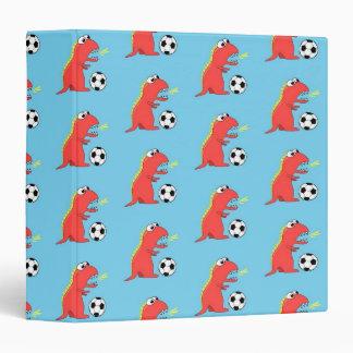 Blue Funny Cartoon Dinosaur Soccer Pattern 3 Ring Binder