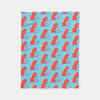 Blue Funny Cartoon Dinosaur Soccer Pattern Fleece Blanket