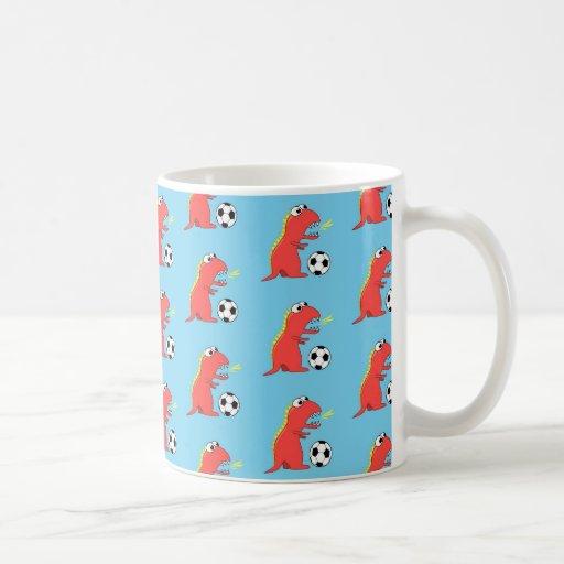 Blue Funny Cartoon Dinosaur Soccer Pattern Mug
