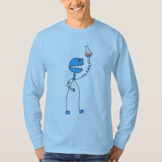 Blue Funny Cartoon Robot Chemistry T-Shirt