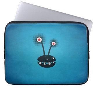 Blue Funny Halftone Cartoon Alien Computer Sleeve