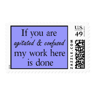 Blue funny quotes postage stamps office humor joke