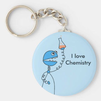 Blue Funny Robot Love Chemistry Personalized Keychain