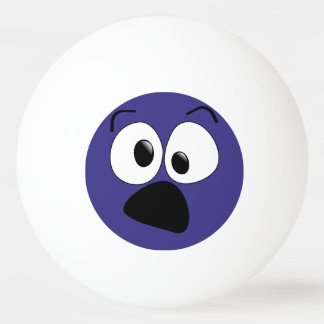 Blue Funny Silly Face Ping Pong Ball