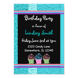 Blue Fur Pattern Birthday Invitation