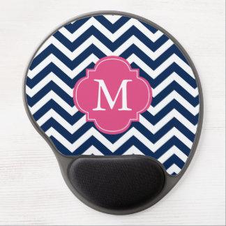 Blue & Fuschia Zigzags Pattern Monogram Gel Mouse Pad