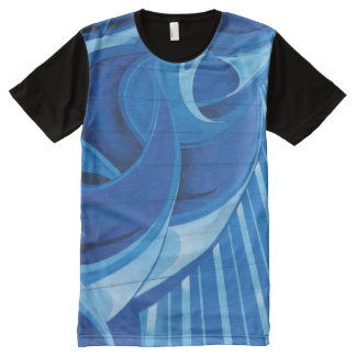 Blue Fusion Swirl All-Over-Print T-Shirt