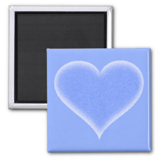 Blue Fuzzy Heart Customizable 2 Inch Square Magnet