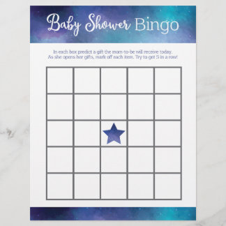 Blue Galaxy Baby Shower Bingo Game