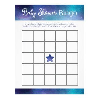 Blue Galaxy Baby Shower Bingo Game Letterhead