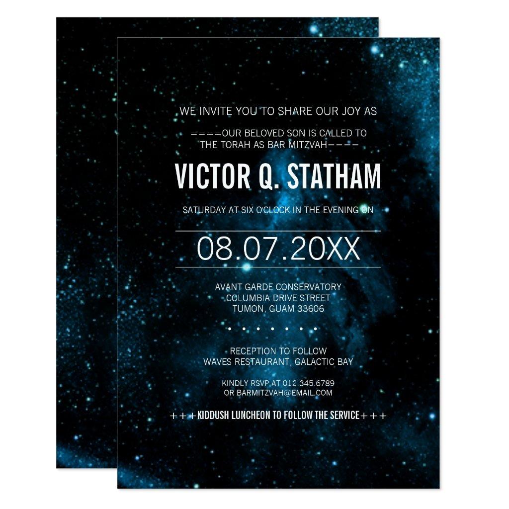 Blue Galaxy Bar Mitzvah Party Invite