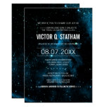 Blue Galaxy Bar Mitzvah Party Invite at Zazzle