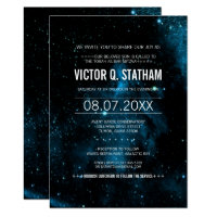 Blue Galaxy Bar Mitzvah Party Invite