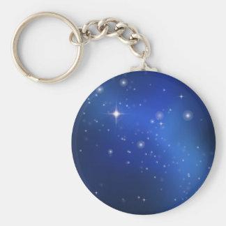 Blue galaxy basic round button keychain
