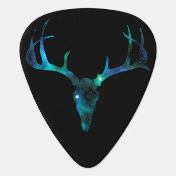 Blue Galaxy Deer Skull Guitar Pick by JulieErinDesigns at Zazzle