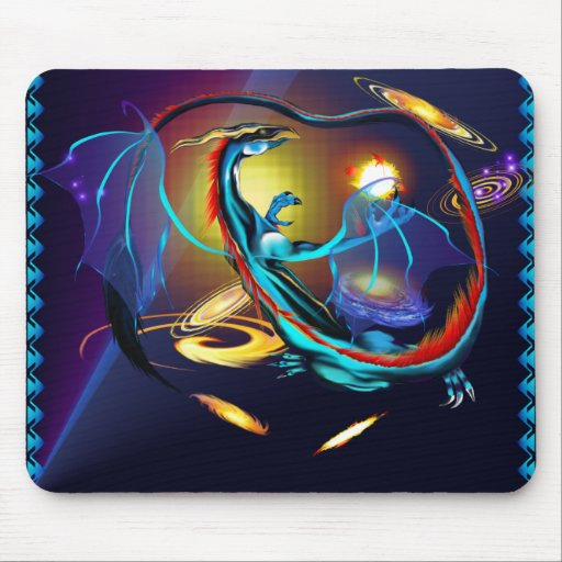 Blue Galaxy Dragon_Mousepad Mousepad