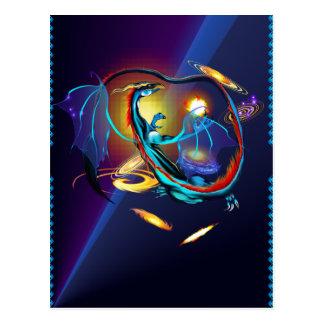 Blue Galaxy Dragon Post Card