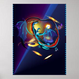 Blue Galaxy Dragon Posters