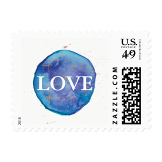 Blue Galaxy Watercolor Love Wedding Postage Stamp