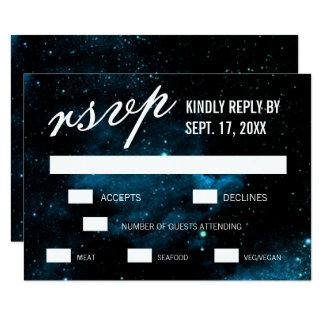 Blue Galaxy Wedding RSVP Cards