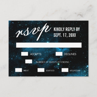 Blue Galaxy Wedding RSVP Cards