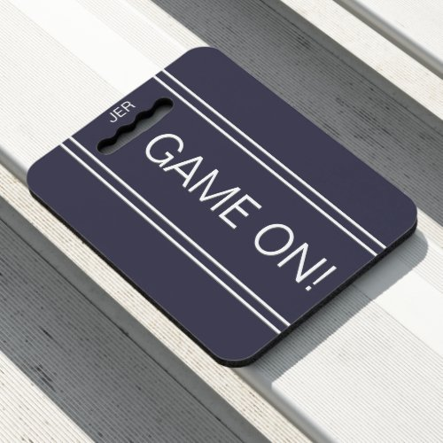 Blue GAME ON Quote Monogrammed Stadium Sports Seat Cushion