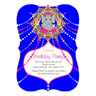 "Blue Ganesh Birthday 5"" x 7"" invitation card-"