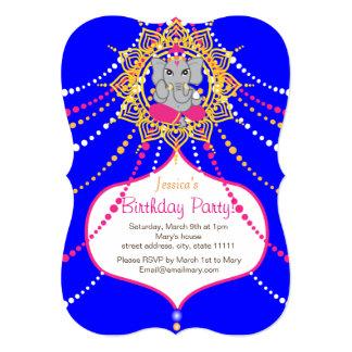 """Blue Ganesh Birthday 5"""" x 7"""" invitation card-"""