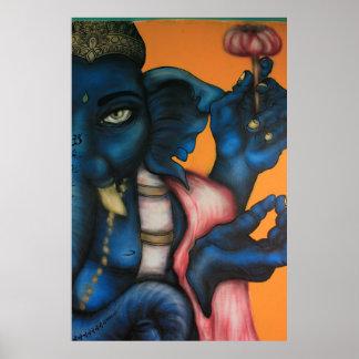 Blue Ganesha, Buddhist God Poster