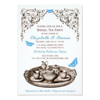 Blue Garden Bridal Tea Party Invitations Custom Announcements