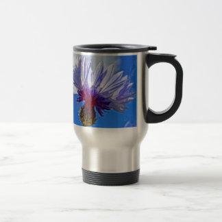 blue garden cornflower in sunlight travel mug