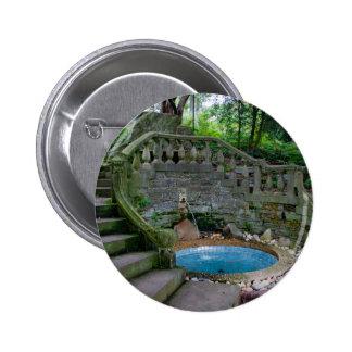 Blue Garden Fountain Pinback Button