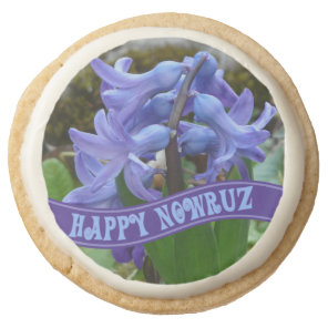 Blue Garden Hyacinth Iranian New Year Nowrooz Round Shortbread Cookie