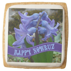 Blue Garden Hyacinth Iranian New Year Nowrooz Square Shortbread Cookie