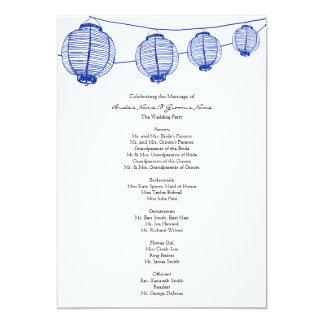 Blue Garden Lanterns Wedding Program 5x7 Paper Invitation Card
