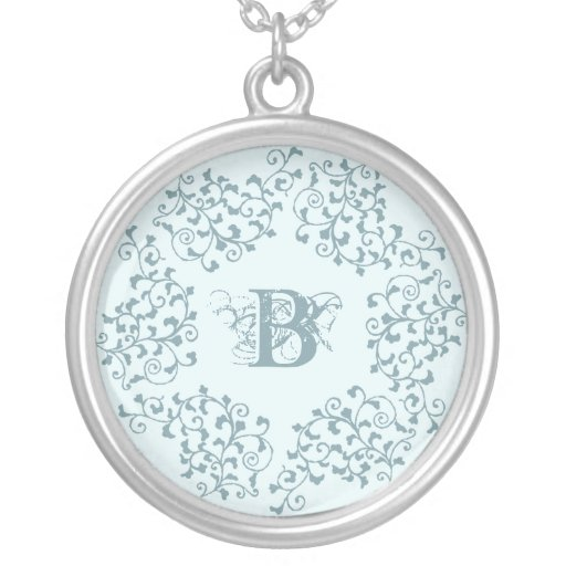Blue Garland Initial Necklace