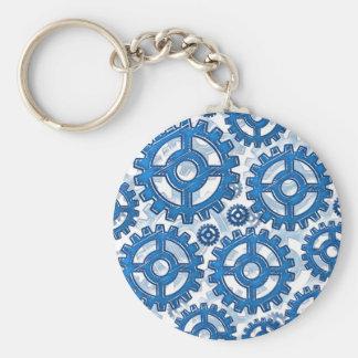 Blue gear wheels basic round button keychain