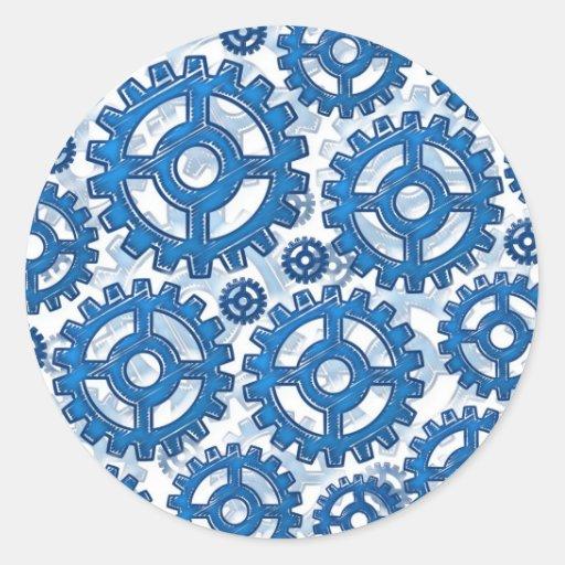 Blue gear wheels classic round sticker