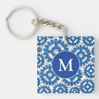 Blue gear wheels Double-Sided square acrylic keychain