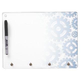 Blue gear wheels dry erase board with keychain holder